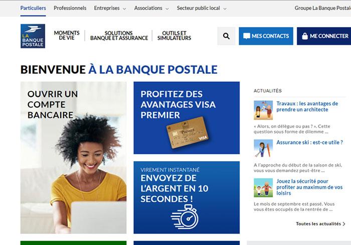 page accueil banque postale