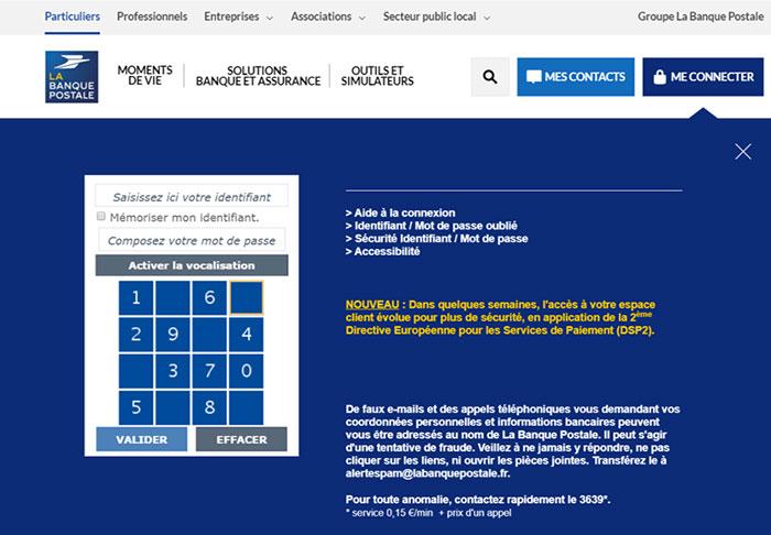 page connexion espace client banque postale