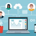 illustration Équipe d'affaires de travail à distance et virtuel